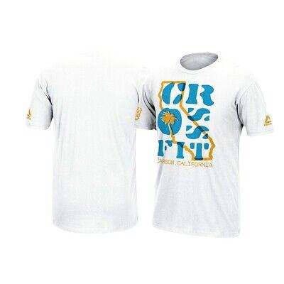 """Reebok CrossFit Large /""""CF/"""" Checkered Logo Men/'s White   T-Shirt"""