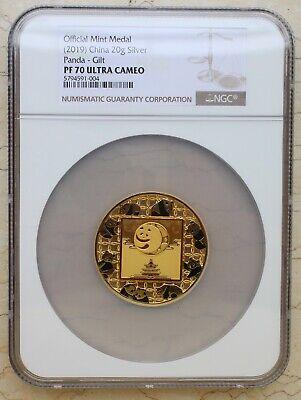 NGC PF70 2019 Shanghai Mint 20g Filament Enamel Silver Panda Medal China COA