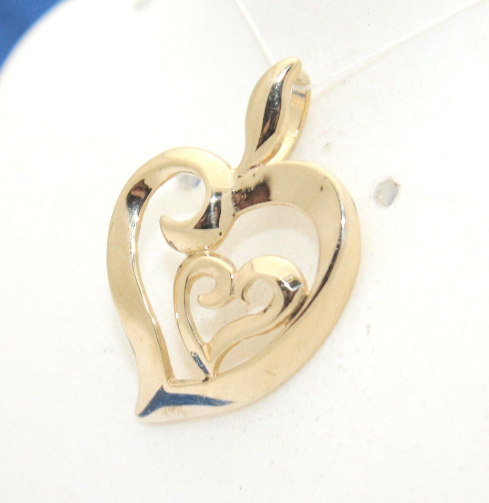 POLISHED DOUBLE HEARTS PENDANT PENDANT SOLID 14 K gold 2.0 g