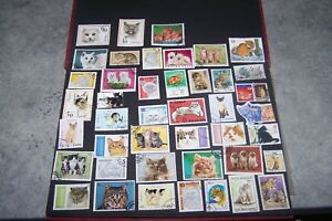 Lot De 44 Timbres - Theme - [ Chat ] - Tout Pays - Obliteres