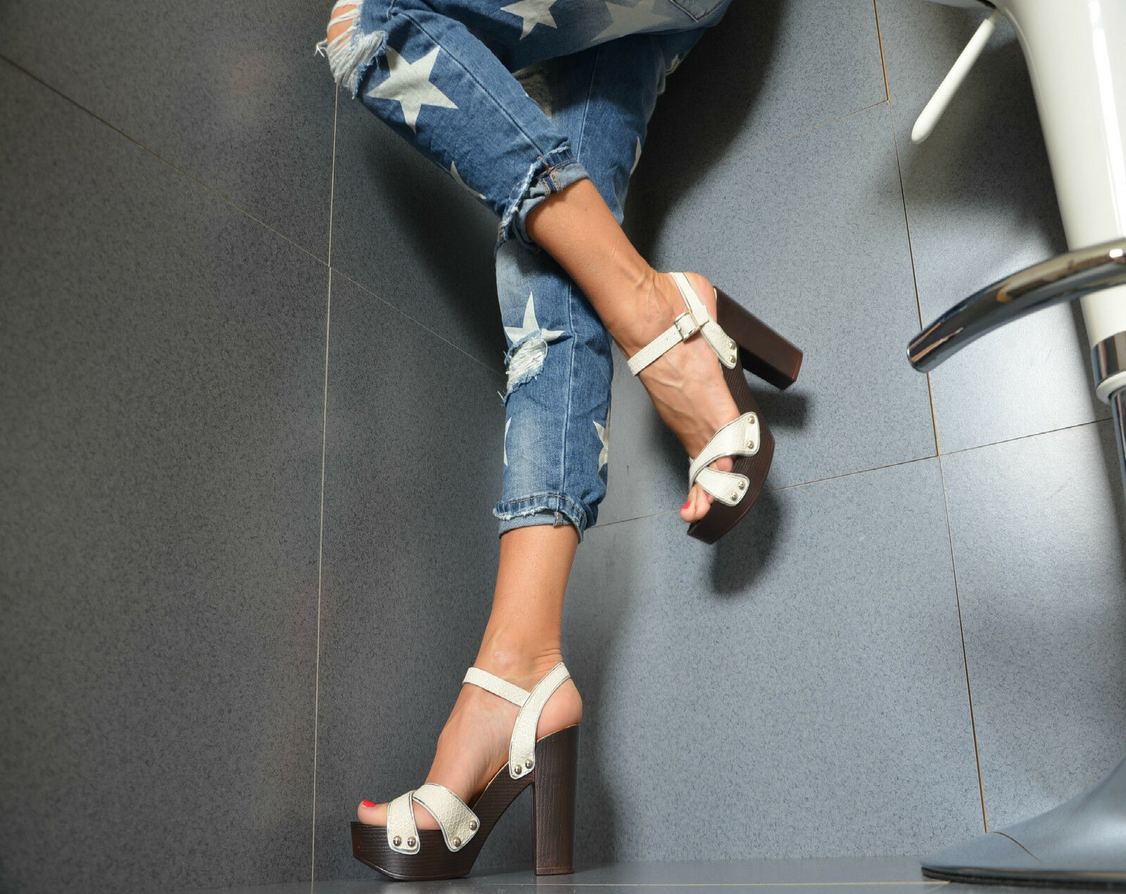 lujo Sexy Zapatos de mujer tacones altos Sandalias PEEP TOE holzoptikabsat<wbr/>z