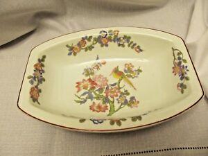 Crown-Bavaria-China-Bird-Branch-Flowers-red-trim-Relish-Veggie-Dish