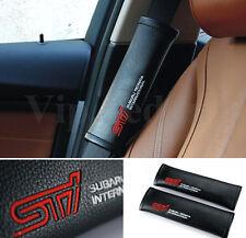 2PCS RED STI WRC WRX GREAT BLACK LEATHER VIP CAR SEAT BELT CUSHION SHOULDER PADS