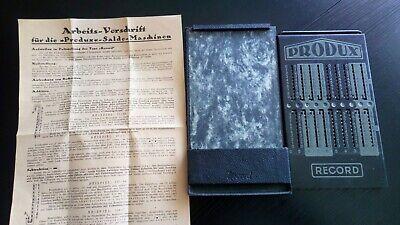 AnpassungsfäHig Alte Rechenmaschine Produx Record Saldo Maschine Und Original Arbeitsvorschrift Offensichtlicher Effekt