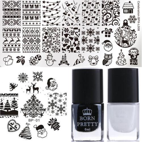 4pcs Nail Stamping Plates Christmas Stamp Polish Nail Art Stencil