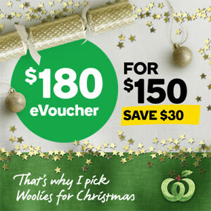 Woolworths $180 eVoucher for only $150. Save $30 on your online shop!