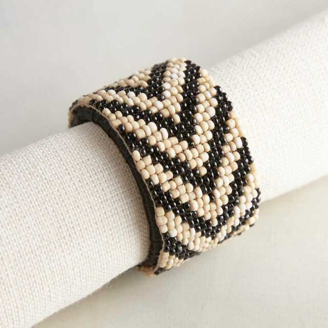 Pier 1 Imports Black And Ivory Beaded Napkin Ring New For Sale Online