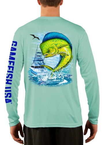 Men/'s UPF 50 Long Sleeve Microfiber Performance Fishing Shirt Mahi