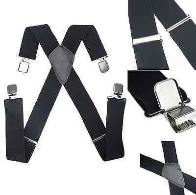 Mens Womens Clip-on Suspenders Elastic X-Back Adjustable Braces Black BL