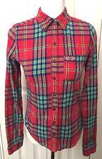 Hollister Women Check Long Sleeve Shirt 100%Cotton Size XS
