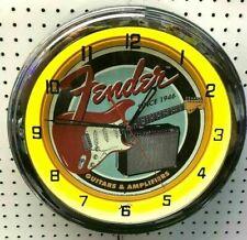 """16"""" FENDER GUITAR Metal Sign Yellow Neon Wall Clock Amplifier Music Studio"""