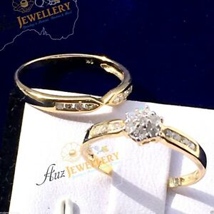 Diamond-ring-gold-engagement-amp-wedding-jewellery-9ct-gold-ring-womens-ring-set