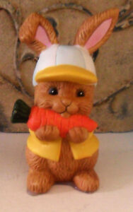 Cute Vintage 90's Ceramic RABBIT Bunny FIGURINE, Eating a Carrot, w/ Cap, Easter
