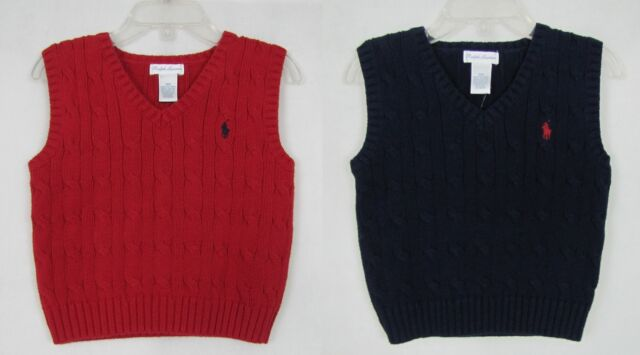 3709e5e749c2 Polo Ralph Lauren Infant Boys Red Cable Knit Sweater Vest Pony 9m ...