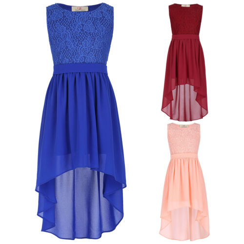 Girls Kids High-Low Lace Chiffon Evening Bridesmaid Party Prom Dress Age 2~12Y