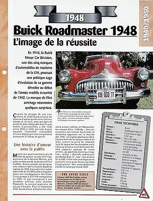 Voiture Buick Roadmaster Fiche Technique Auto 1948 Collection Car Originale Al 100%