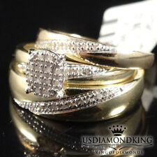 10K SOLID YELLOW GOLD .12 CT MEN WOMEN DIAMOND TRIO ENGAGEMENT WEDDING RING SET