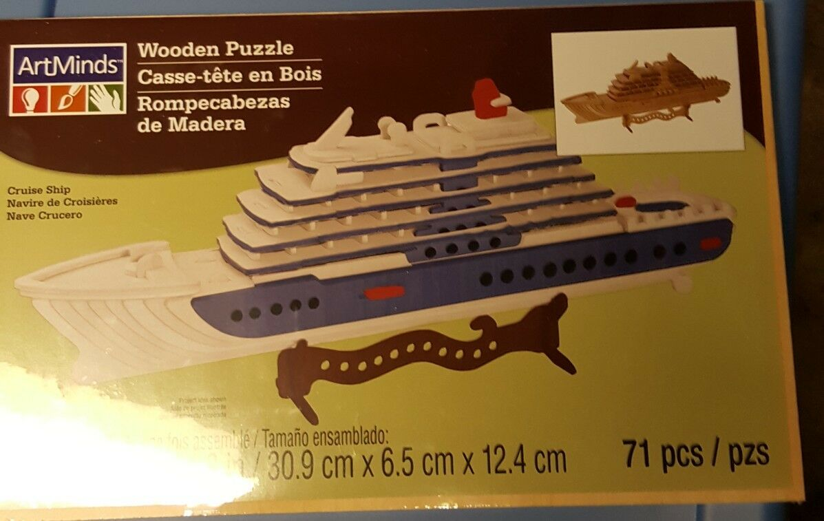 Artminds Wooden 3D Puzzle 71 Piece CRUISE SHIP  NEW Sealed