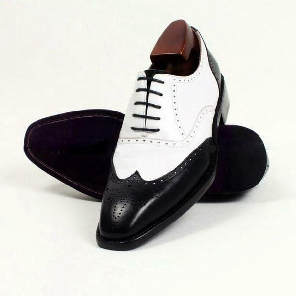 Handmade Men Spectator scarpe, Men two tone scarpe Men wingtip brogue formal scarpe