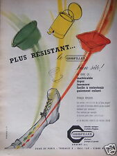 PUBLICITÉ 1956 USTENSILES PLASTIQUES GROSFILLEX PLUS RÉSISTANT - ADVERTISING