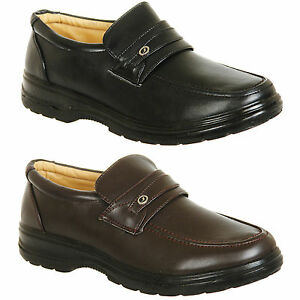 Mens-Brown-or-Black-Wider-Fit-Slip-On-Comfort-Shoes-Size-6-7-8-9-10-11-12