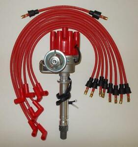 sbc chevy red female small hei distributor \u0026 spark,plug wires overimage is loading sbc chevy red female small hei distributor amp