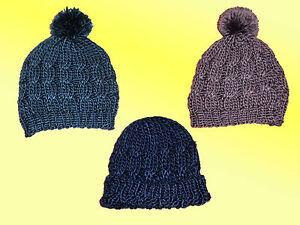 chaud-epais-Bonnet-d-039-HIVER-POUR-FILLE-ado-tricote-avec-pompon-Taille-Unique