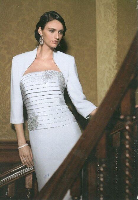 Daymor 6013 Ice 8 NWT, two piece gown with bolero jacket & mock 2 piece dress