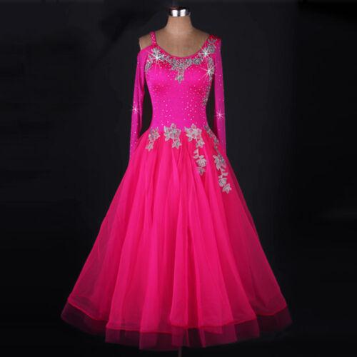 NEW Latin Ballroom Dance Dress Modern Salsa Waltz Standard Long Dress#FM236