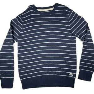 Aeropostale-Sweater-Mens-Size-XL-Navy-Blue-Striped-V-Neck-Pullover