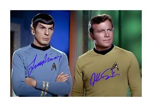 Star-Trek-A4-Shatner-amp-Nimoy-1-signed-mounted-poster-Choice-of-frame