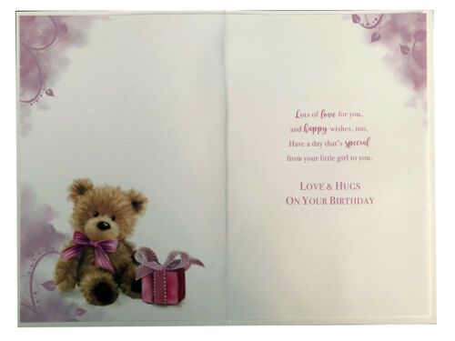 Mummy From Your Little Girl Bear /& Present Design Birthday Card Lovely Verse