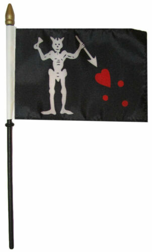 "Pirate Blackbeard 4/""x6/"" Flag Desk Table Set Wooden Stick Staff"