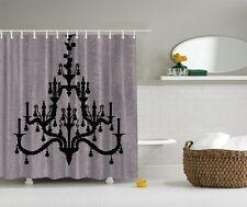 Glamour Hollywood Black Chandelier Digital Print Shower Curtain Royal Bath Decor