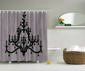 Image Is Loading Glamour Hollywood Black Chandelier Digital Print Shower Curtain