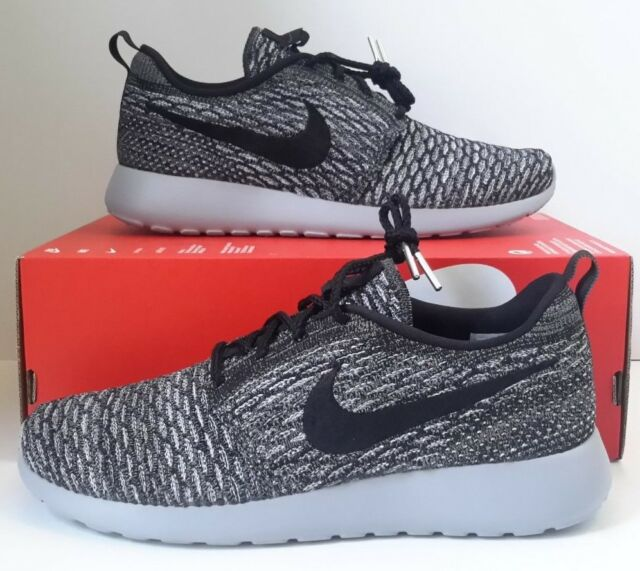 5651f67d1ed8 NIKE ROSHE ONE FLYKNIT CASUAL WMNS Sz 11 RUNNING MESH COOL GREY BLACK  704927 007