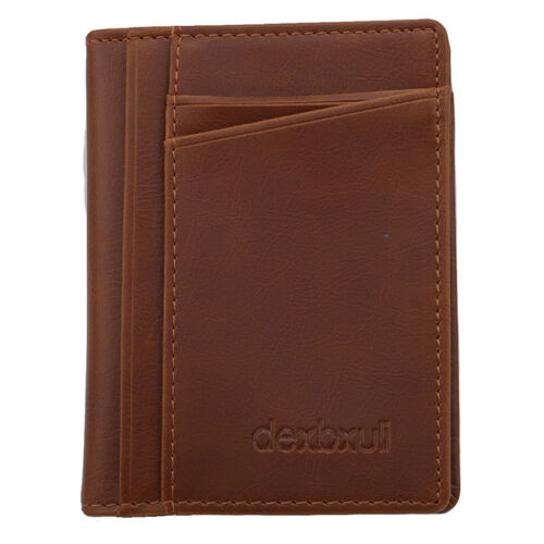 Ultra-thin Mini Wallet Men/'s Faux Leather Wallet Bifold Purse Card Holder S