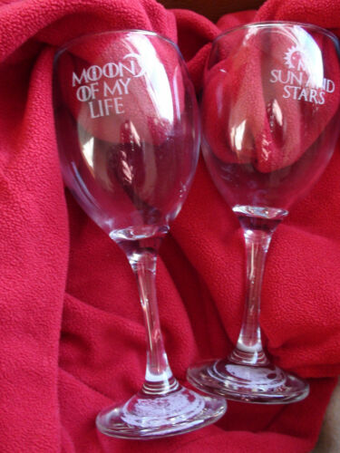 Moon Game of thrones HIS /& HERS personalised engraved wine glass x 2.Sun,Stars