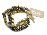 Ettika Multi Strand Bracelet - Gold & Gunmetal Chains, Beads, With Tag
