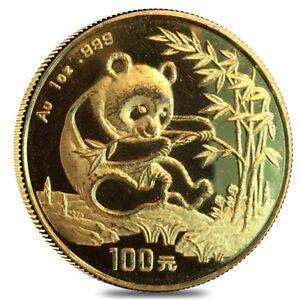 1994-1-oz-Chinese-Gold-Panda-100-Yuan-Small-Date-999-Fine-Abrasions