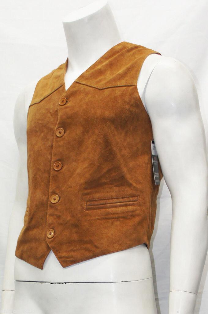 Herren Gents Party Fashion Classic Designer Tan Italian Suede Leder Waistcoat