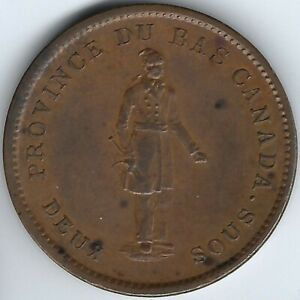 LOWER-CANADA-City-Bank-1837-Penny-Token-Breton-521-LC-9A3-Inv-2779