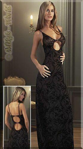 Kleid schwarz Bodenlanges Samtflock Abendkleid