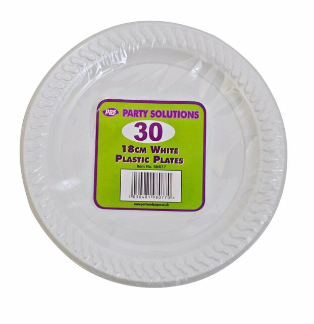 "30 WHITE PLASTIC PLATES - 7"" inch/18cm quality durable plates ideal for hot and"