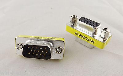 10x VGA//SVGA 15 Pin DB15 Male To Female D-SUB 3 Rows Mini Gender Changer Adapter