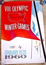 ORIGINAL POSTER SQUAW VALLEY LAKE TAHOE 1960 OLYMPICS KAISER RARE IN ENGLISH