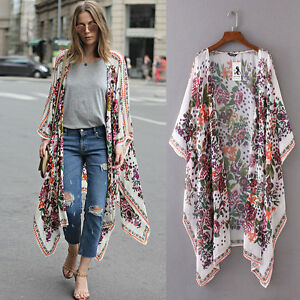 Women Floral Print Chiffon Loose Shawl Kimono Cardigan Top Cover ...