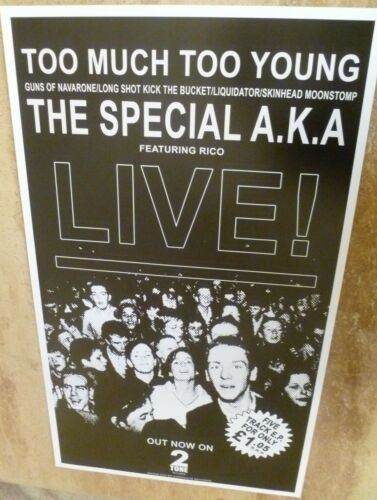 THE SPECIALS  BANNER STYLE 'TOO MUCH TOO YOUNG' REPRODUCTION POSTER 70 X 40 CM