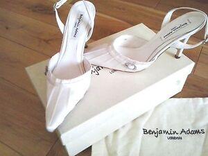 Ivory Satin Shoes Size 4 Heels Sling backs Wedding Bridal Leila Vintage Style