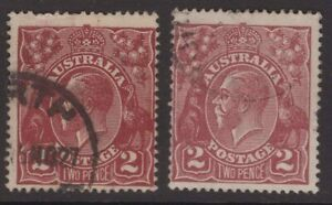 Australia-KGV-2-x-2d-red-brown-s-crown-w-m-shades-ACSC-97A-97B-Cv-40